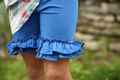 Ruffle Shortie - Royal - Pearls and Piggytails