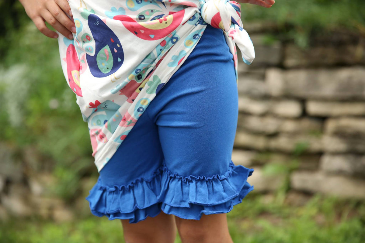 Ruffle Shortie - Cornflower - Pearls and Piggytails