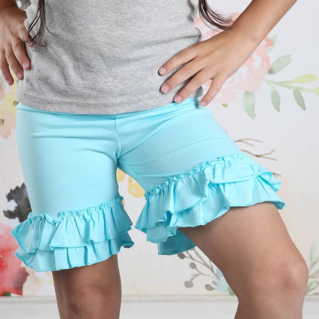 Ruffle Shortie - Aqua - Pearls and Piggytails