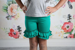 Ruffle Shortie - Emerald - Pearls and Piggytails