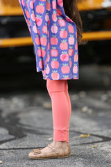 Sutton Button Leggings - Coral - Pearls and Piggytails