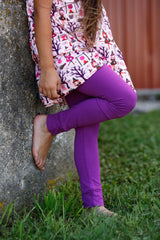 Sutton Button Leggings - Plum - Pearls and Piggytails