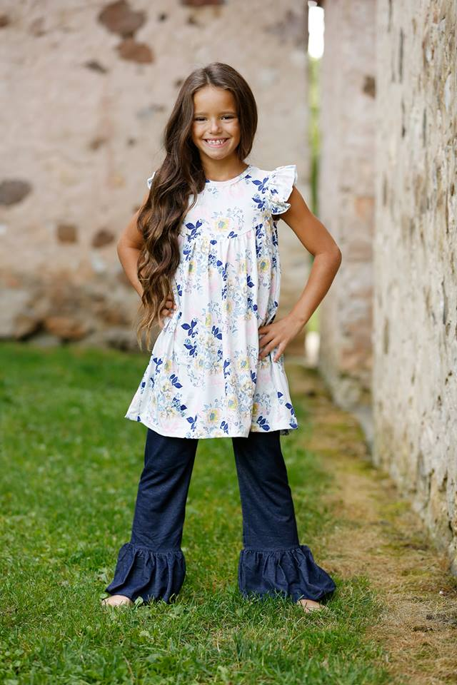 PREORDER Ellie Ruffle Pants - Denim - Pearls and Piggytails