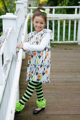 Icing Ruffle Leggings - Black/Lime - Pearls and Piggytails