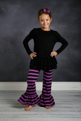 Ellie Ruffle Pants - Black/Purple - Pearls and Piggytails
