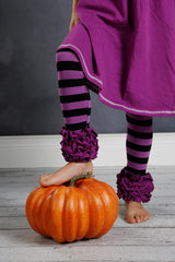 Icing Ruffle Leggings - Black/Purple - Pearls and Piggytails