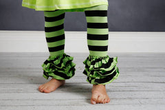 Bella Triple Ruffle Pants - Black/Lime - Pearls and Piggytails