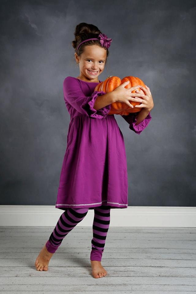 Sutton Button Leggings - Black/Purple Stripe - Pearls and Piggytails