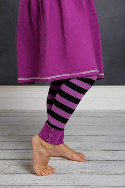 Sutton Button Leggings - Black/Purple Stripe