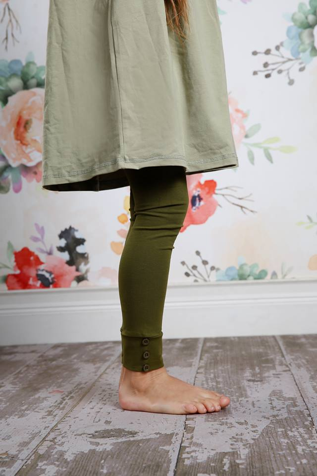 PREORDER Sutton Button Leggings - Moss - Pearls and Piggytails