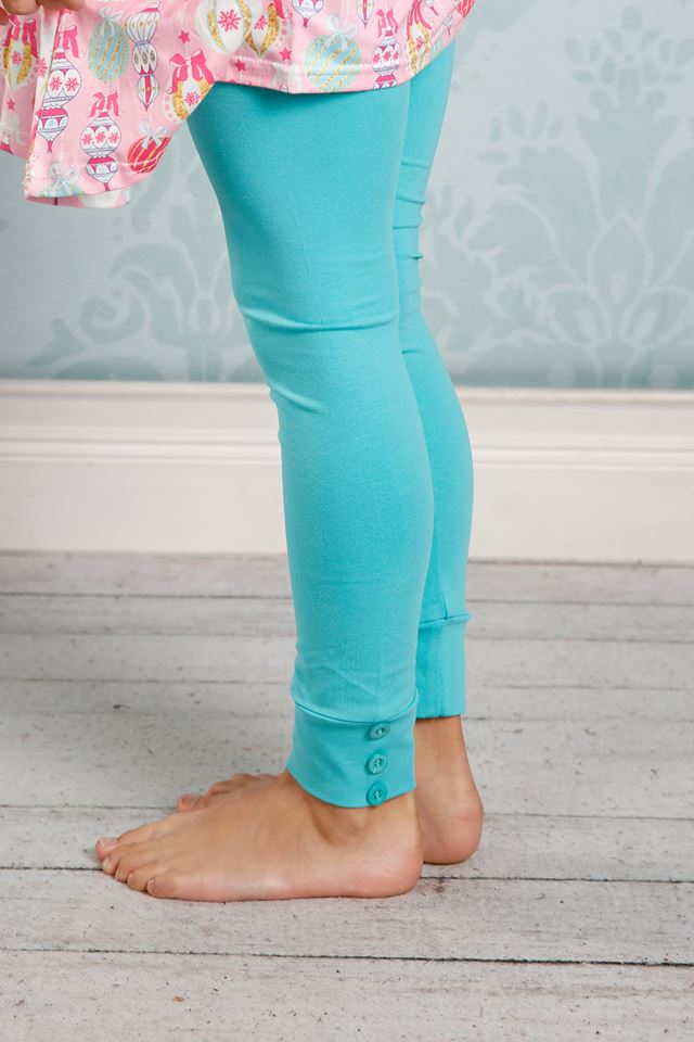 Sutton Button Leggings - Seamist - Pearls and Piggytails