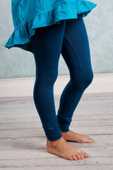 Sutton Button Leggings - Peacock - Pearls and Piggytails