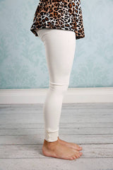 Sutton Button Leggings - Ivory - Pearls and Piggytails