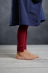 Sutton Button Leggings - Wine - Pearls and Piggytails