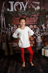 Sutton Button Leggings - Red Polka Dot