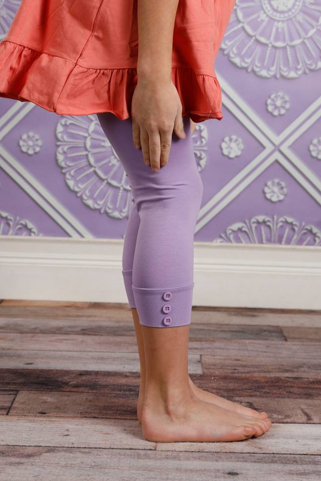 Capri Sutton Button Leggings - Purple