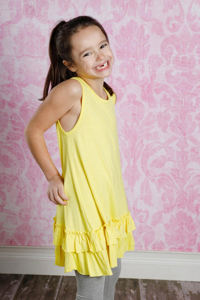 Wynn & Willow Sleeveless Layered Ruffle Tunic Top - Yellow