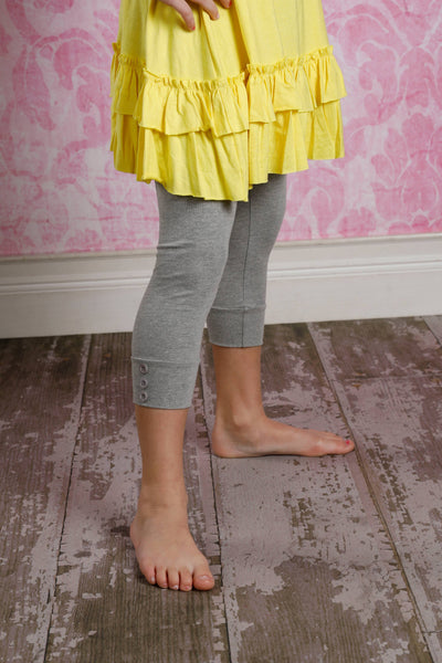 Capri Sutton Button Leggings - Heather