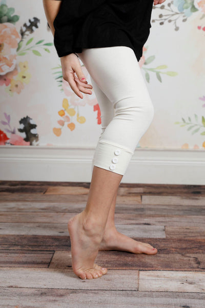 Capri Sutton Button Leggings - Ivory