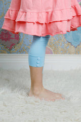 Capri Sutton Button Leggings - Light Blue