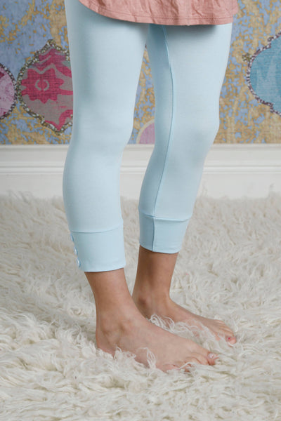 Capri Sutton Button Leggings - Sky