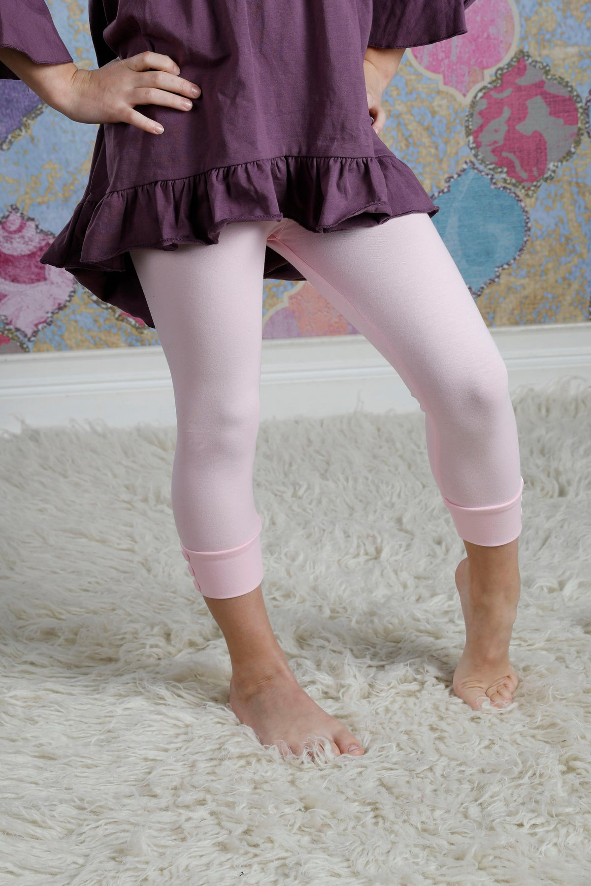 Capri Sutton Button Leggings - Light Pink