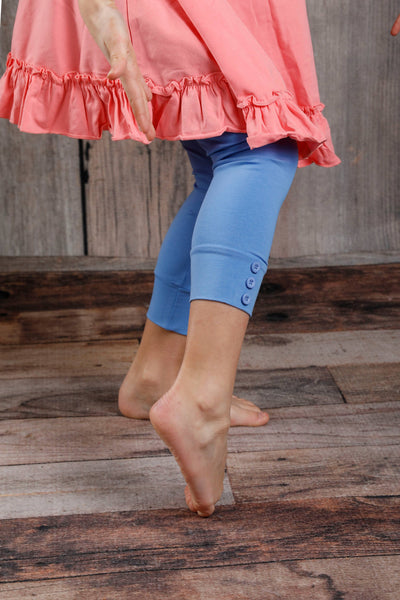 Capri Sutton Button Leggings - Cornflower