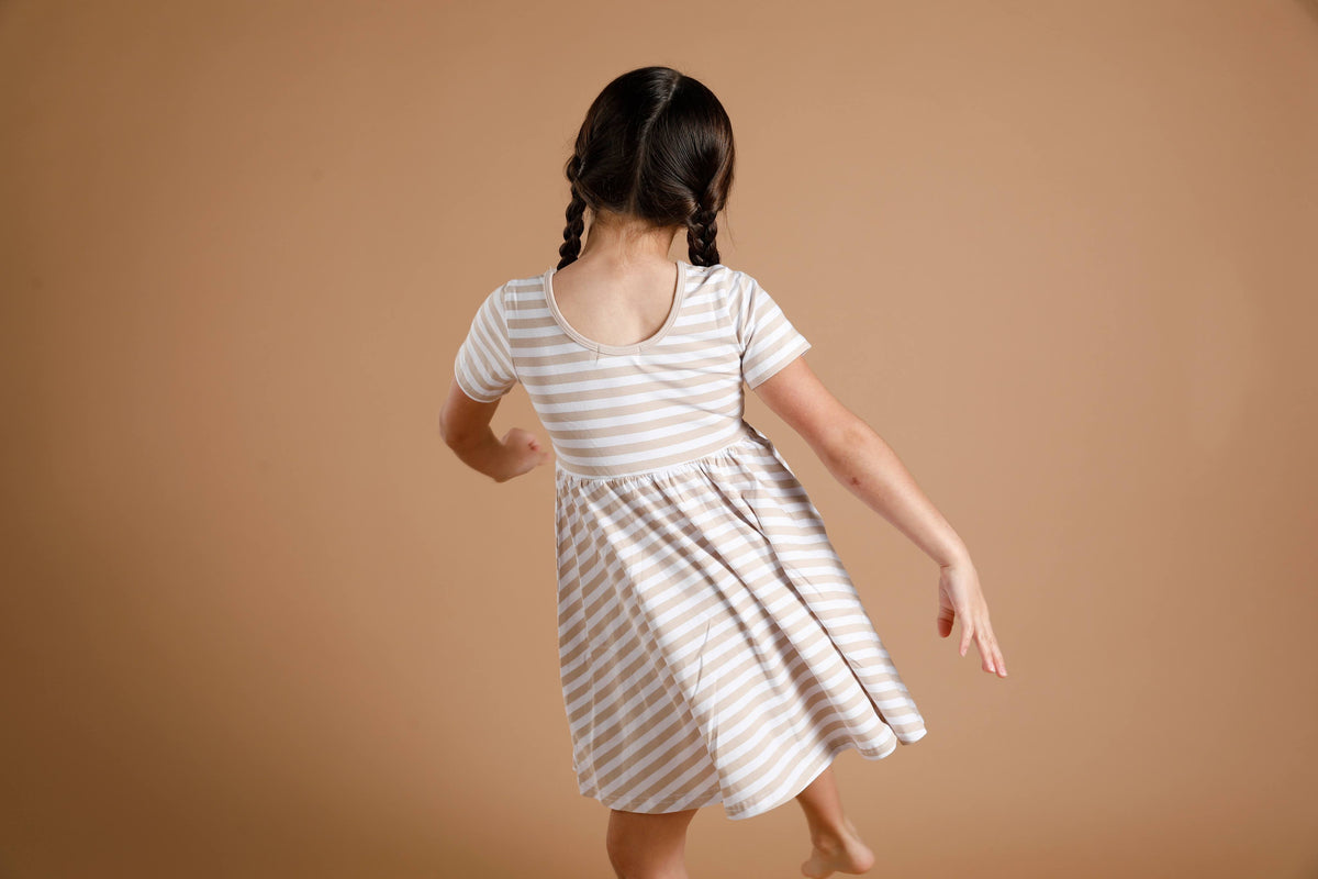 Mia Dress - Tan Stripe