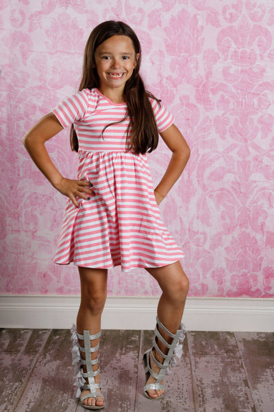 Mia Dress - Pink Stripes
