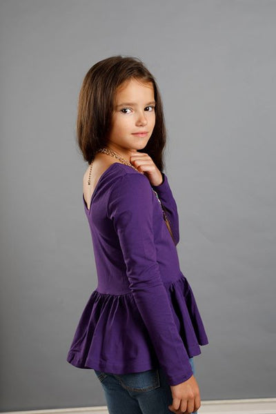 Peplum Long Sleeve - Raisin