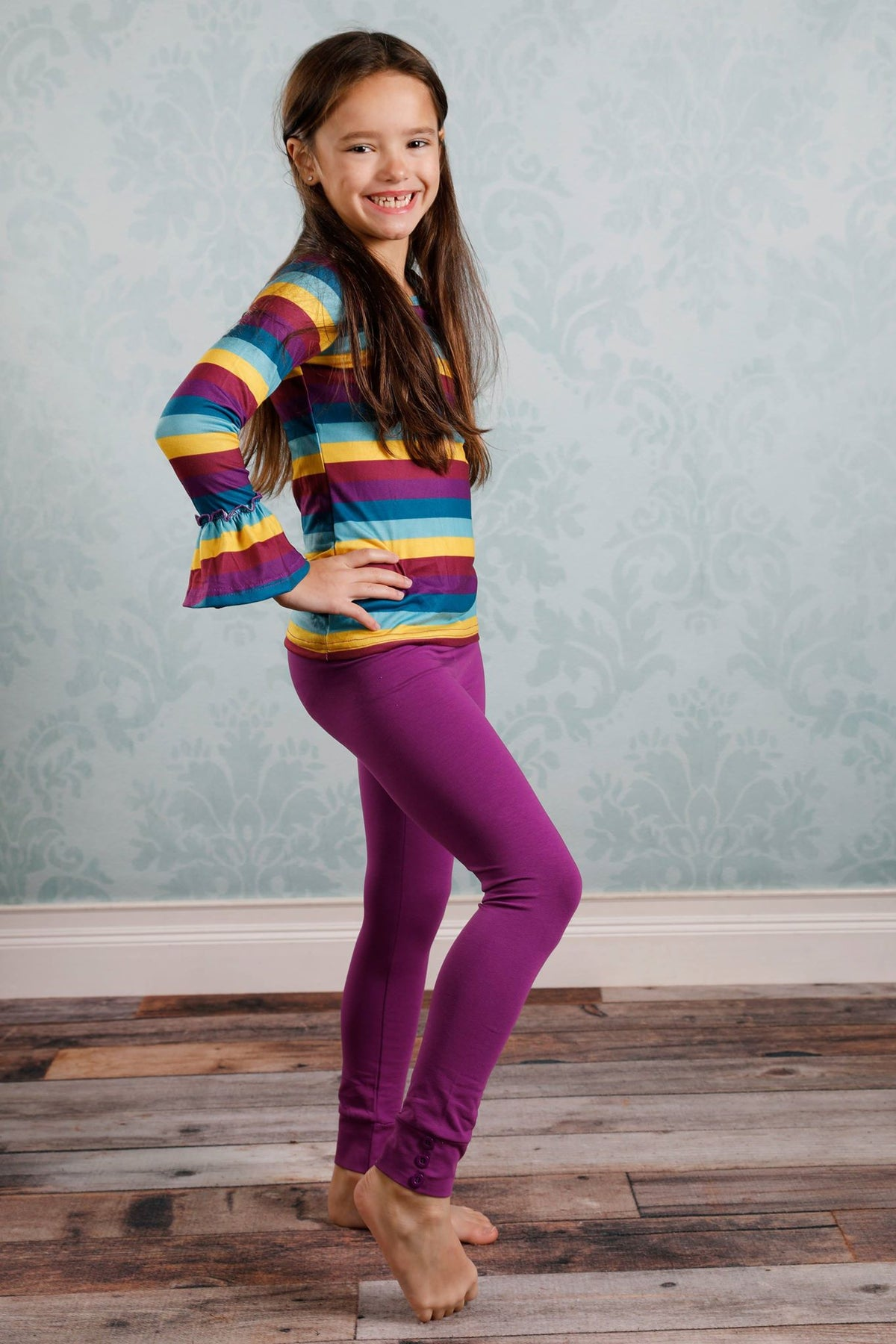 Sutton Button Leggings - Plum