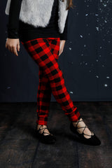 PREORDER Sutton Button Leggings - Red Buffalo Plaid