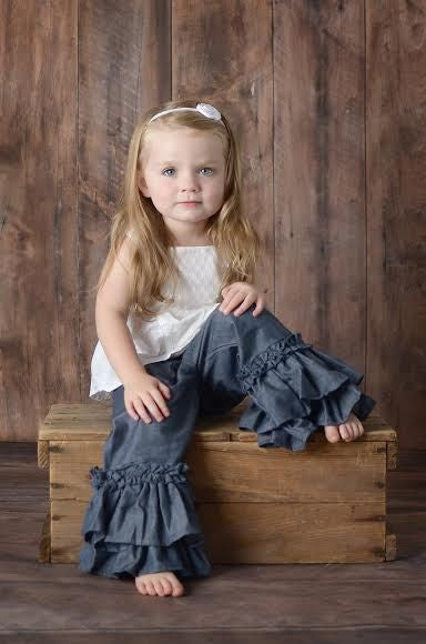 PREORDER Double Ruffle Pants - Chambray - Pearls and Piggytails