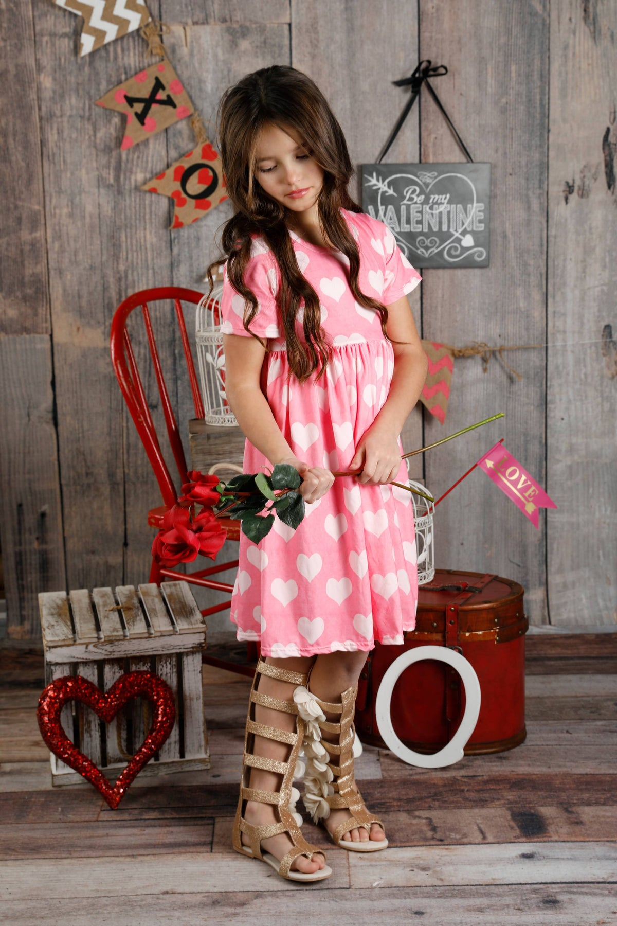 Jenny Dress - Pink Hearts