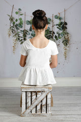 Emmy Short Sleeve Peplum - Soft White