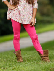 Sutton Button Leggings - Hot Pink