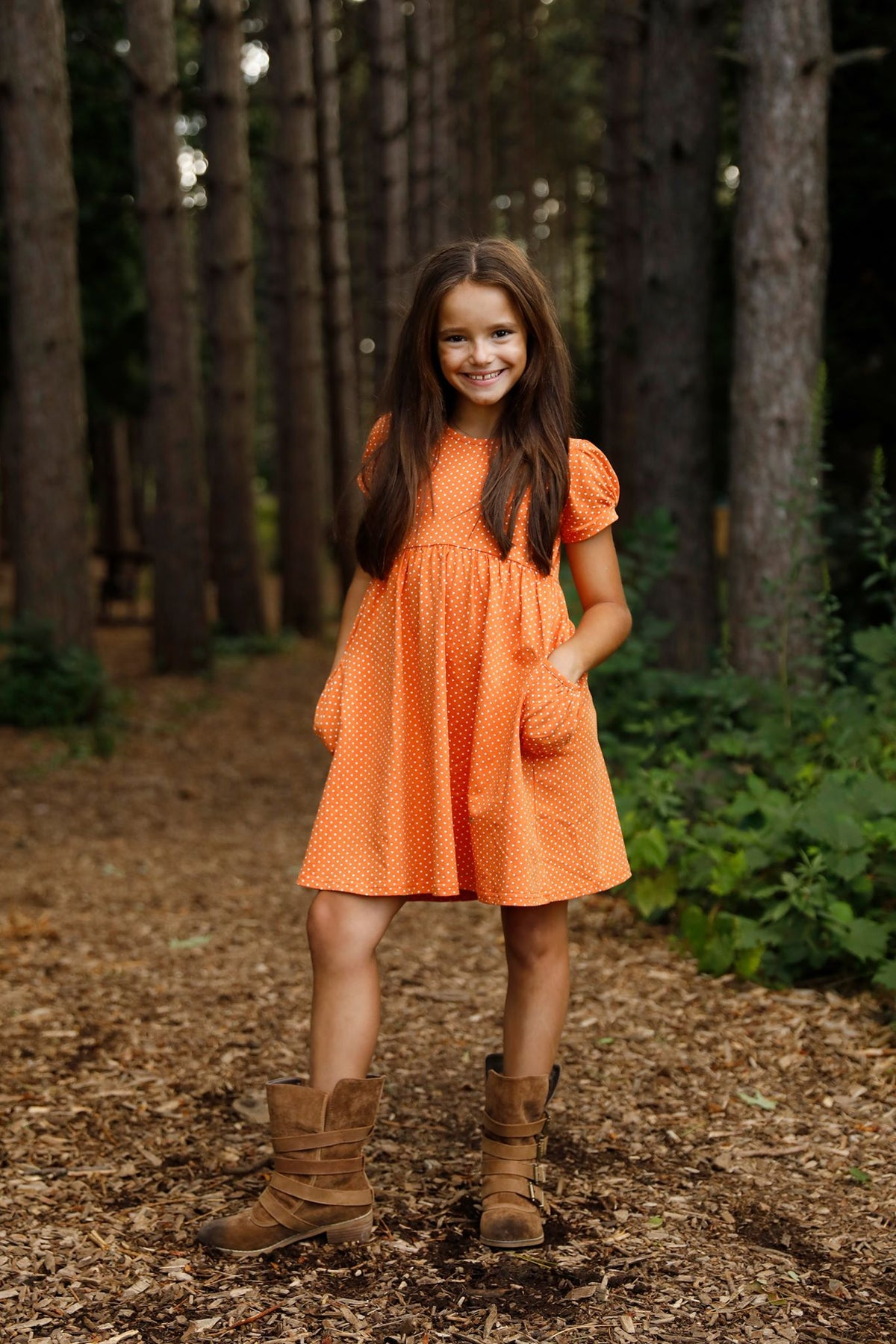 Kylie Dress - Pumpkin Polka Dot
