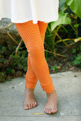 Sutton Button Leggings - Pumpkin Polka Dot
