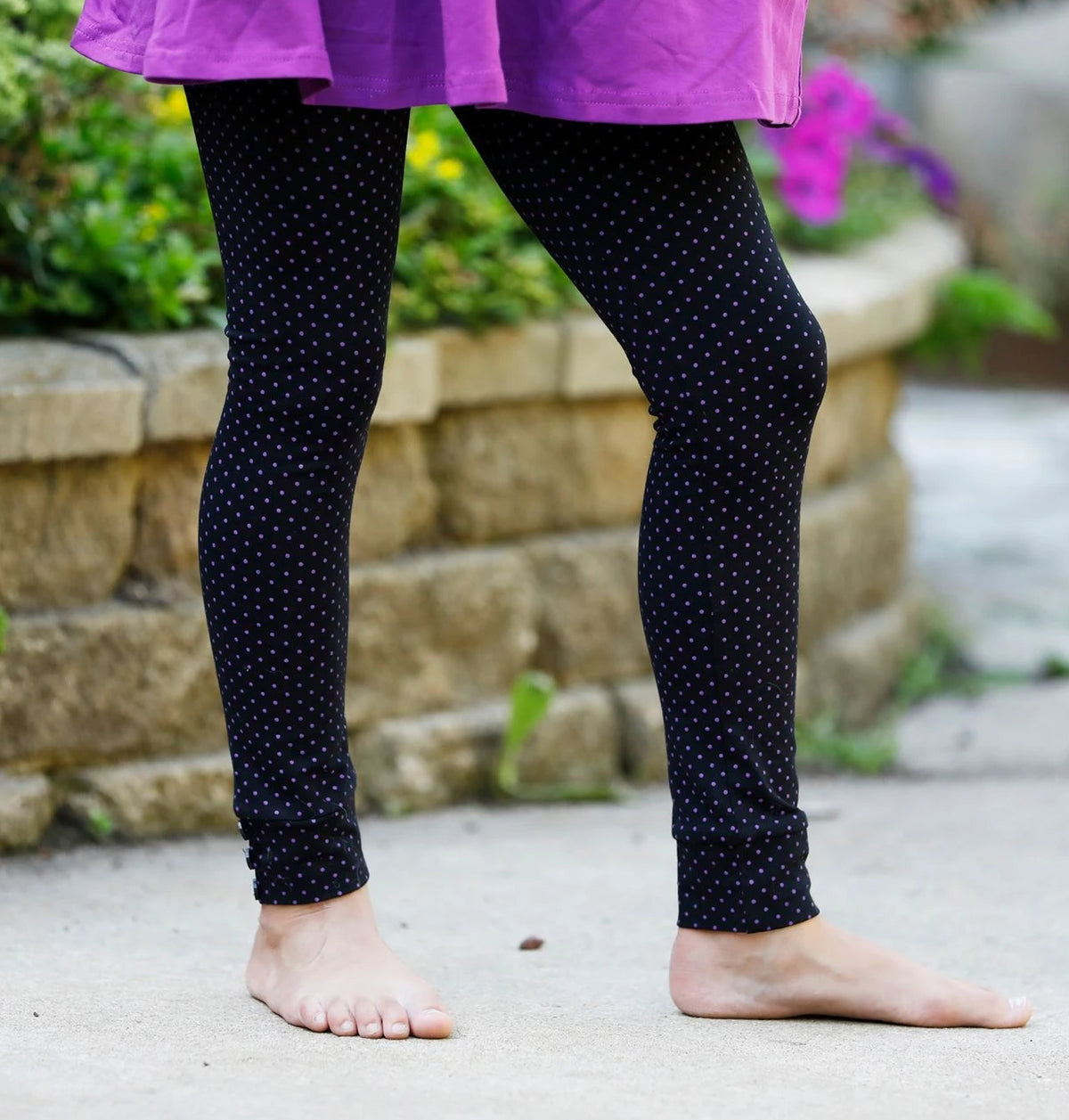 Sutton Button Leggings - Plum Polka Dot