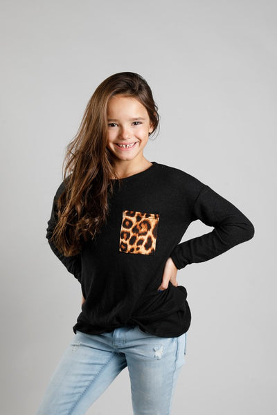 W&W Front Knot Top with Animal Print Pocket - 3 Colors