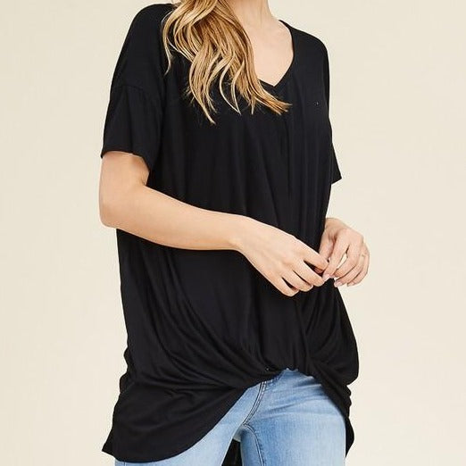 W&W V-Neck Short Sleeve Front Knot - Black