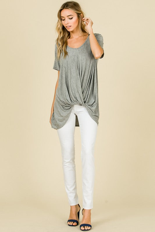 W&W V-Neck Short Sleeve Front Knot - Heather