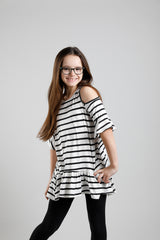 W&W Tunic Featuring Cold Shoulder - Ivory / Black