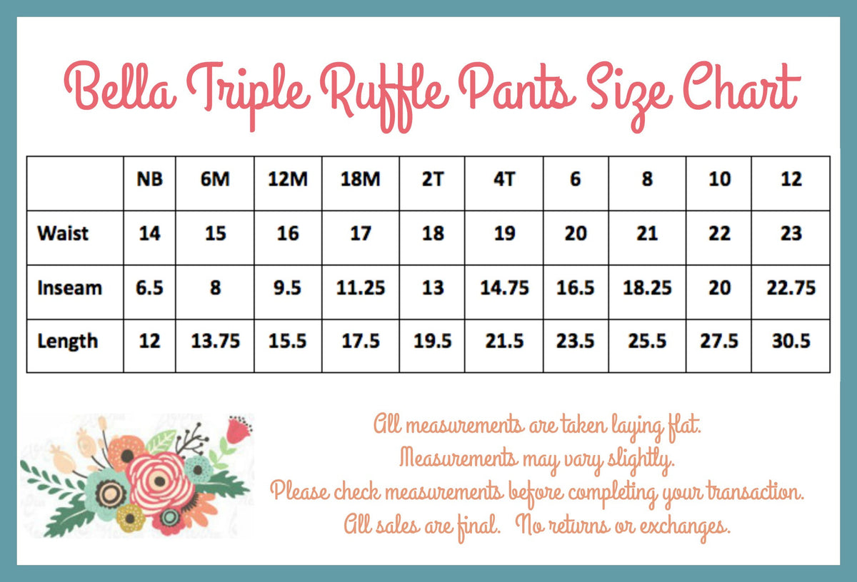 Bella Triple Ruffle Pants - Royal - Pearls and Piggytails