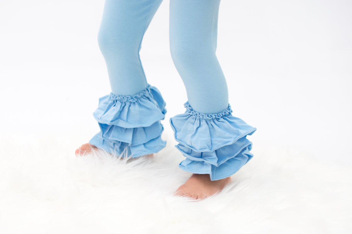 PREORDER Bella Triple Ruffle Pants - Light Blue