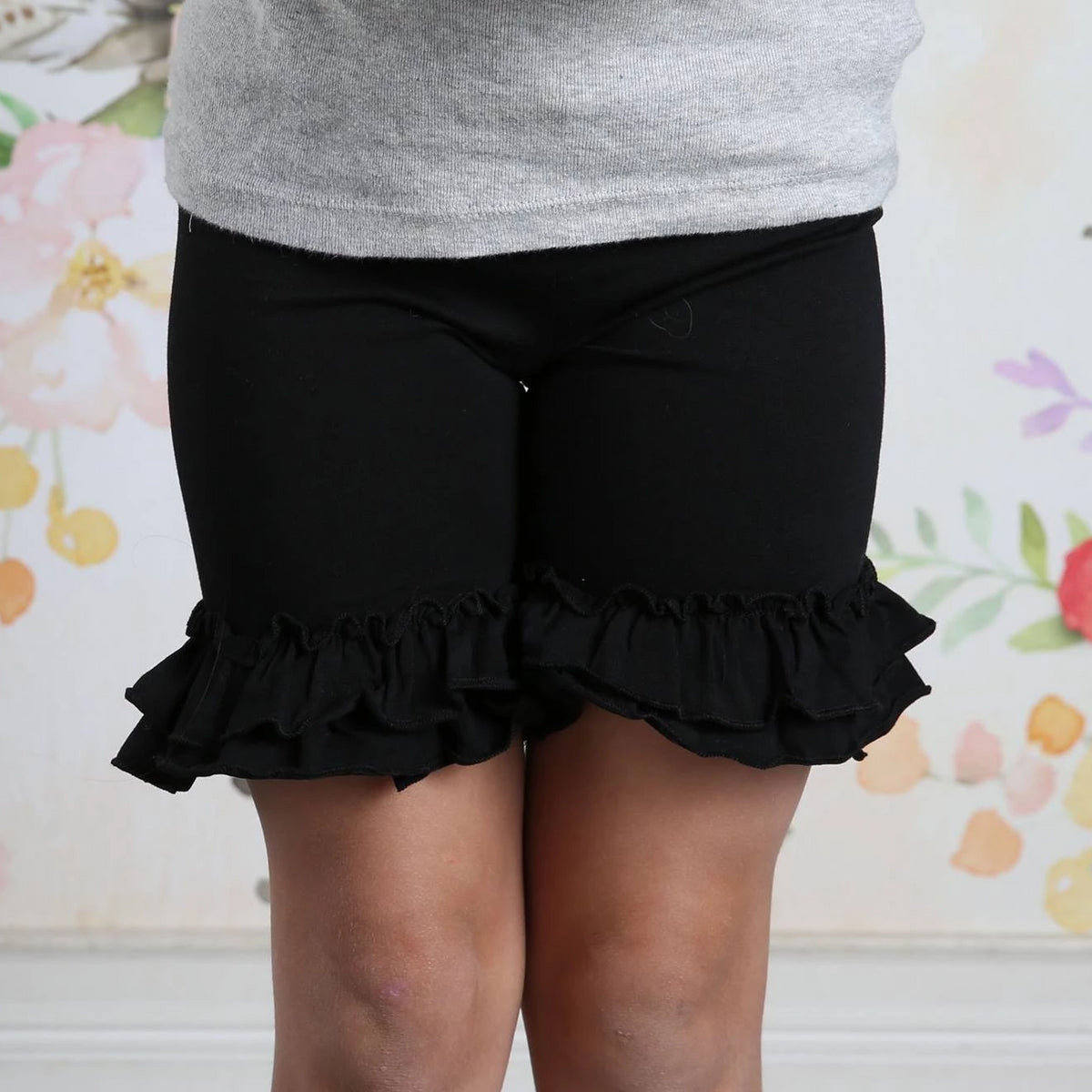 Ruffle Shortie - Black - Pearls and Piggytails
