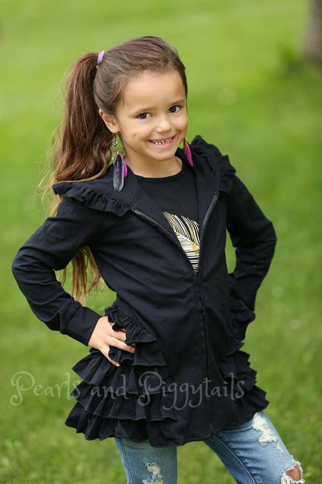 PREORDER Riley Ruffle Jacket - Black - Pearls and Piggytails