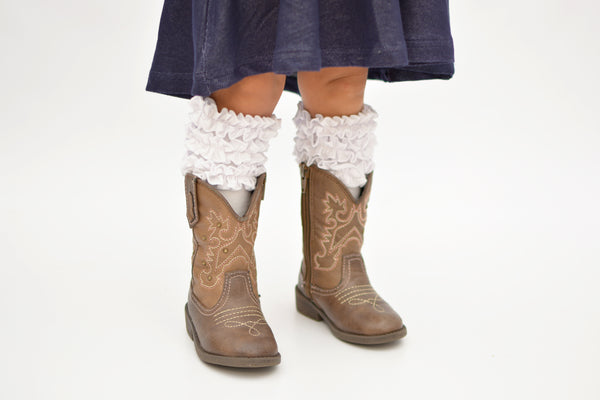 Brenna Boot Socks - White