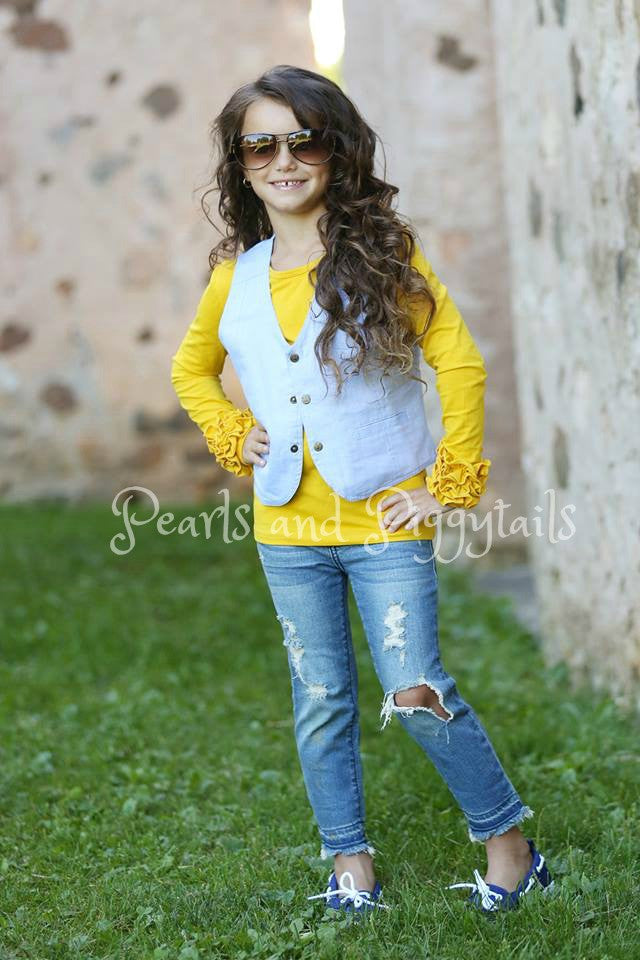 Brighton Icing Shirt - Mustard - Pearls and Piggytails