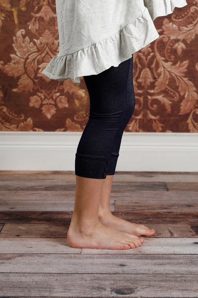 PREORDER Capri Sutton Button Leggings - Denim